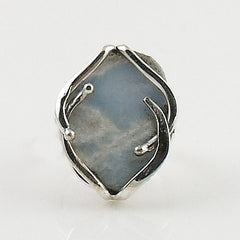Angelite Rough Sterling Silver Ring - Keja Designs Jewelry
