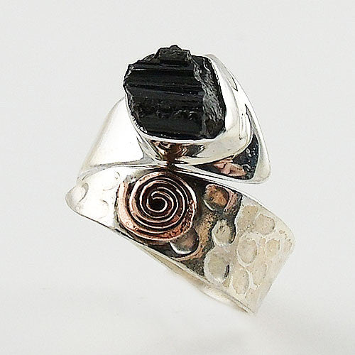 Black Tourmaline Rough Sterling Silver Copper Spiral Adjustable Ring - Keja Designs Jewelry