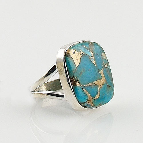 Copper Turquoise Square Sterling Silver Ring - Keja Designs Jewelry