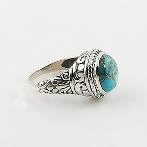 Blue Copper Turquoise Sterling Silver Fancy Ring - Keja Designs Jewelry