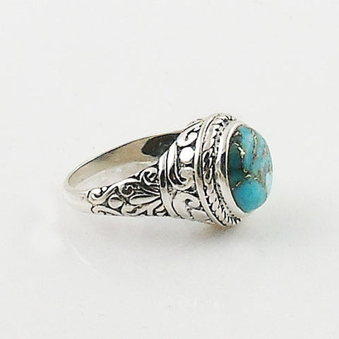 Blue Copper Turquoise Sterling Silver Fancy Ring
