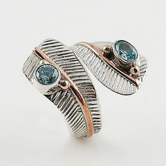Blue Topaz Adjustable Sterling Silver Leaf Ring - Keja Designs Jewelry