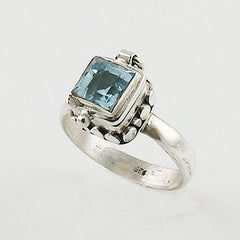 Blue Topaz Poison Ring - Keja Designs Jewelry
