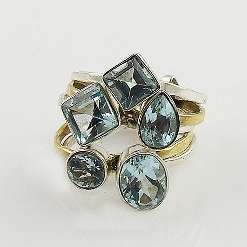 Blue Topaz Sterling Silver Two Tone Stack Ring - Keja Designs Jewelry