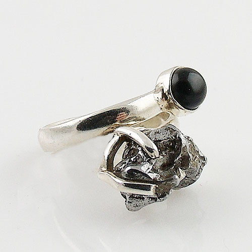 Campo de Cielo Meteorite & Black Onyx Sterling Silver Adjustable Ring - Keja Designs Jewelry