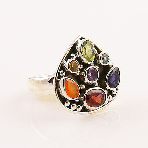 Multi Gemstone Sterling Silver Chakra Pear Ring - keja jewelry - Keja Designs Jewelry