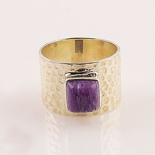 Charoite Sterling Silver Band Ring - Keja Designs Jewelry