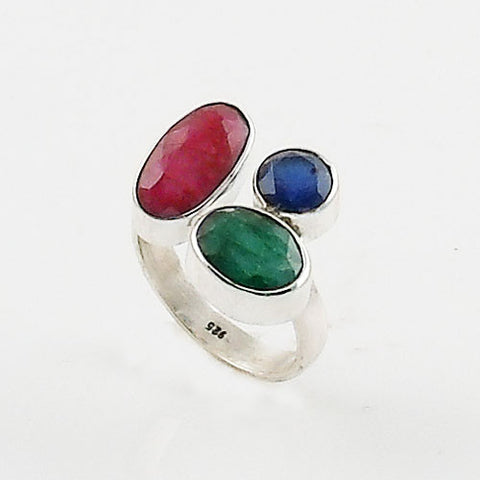 Sapphire, Ruby & Emerald Sterling Silver Adjustable Ring