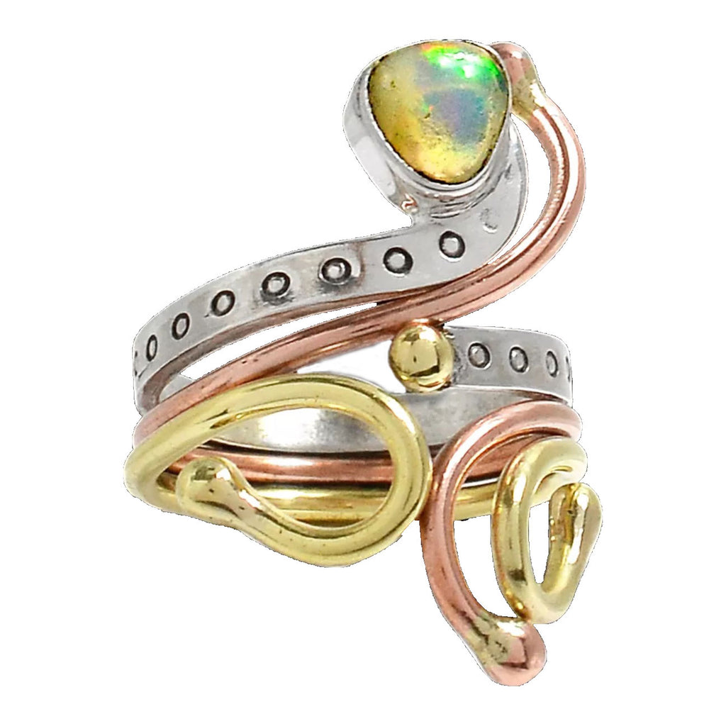 Ethiopian Opal Three Tone Sterling Silver Adjustable Ring - Keja Designs Jewelry
