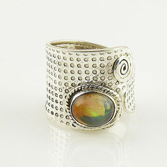 Ethiopian Opal Adjustable Sterling Silver Ring - Keja Designs Jewelry