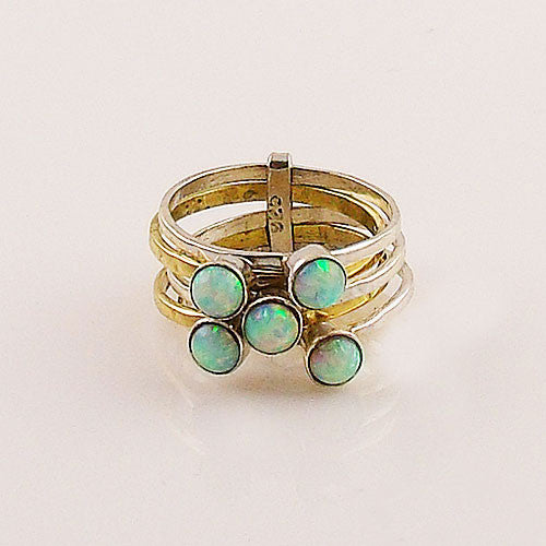 Fire Opal Sterling Silver Two Tone Stack Ring - Keja Designs Jewelry