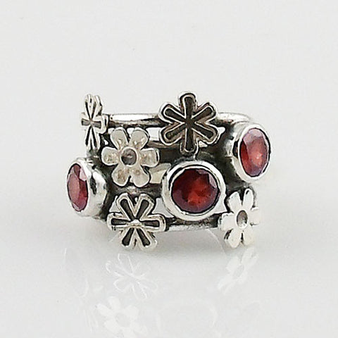 Garnet Flower Sterling Silver Ring
