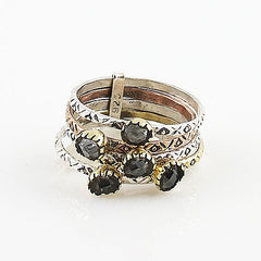 Herkimer Diamond Quartz Two Tone Sterling Silver Stack Ring - Keja Designs Jewelry