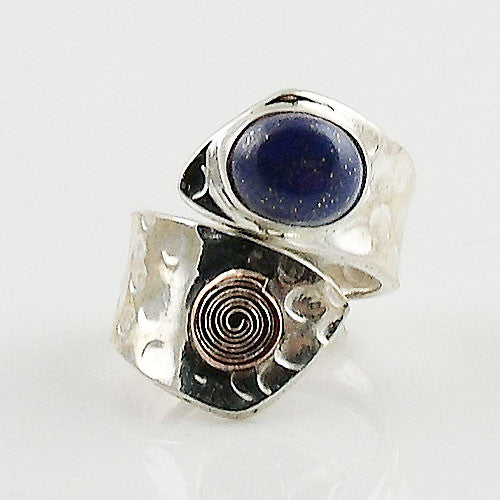Lapis Sterling Silver Copper Spiral Adjustable Ring - Keja Designs Jewelry