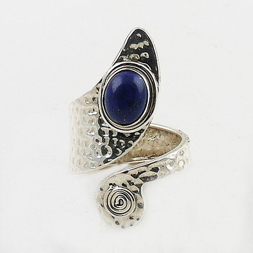 Lapis Sterling Silver Adjustable Spiral Ring - Keja Designs Jewelry