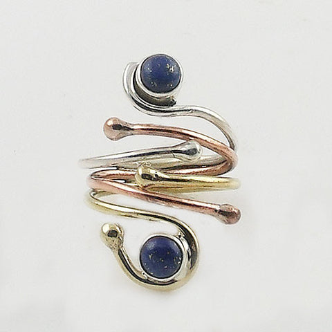 Lapis Three Tone Sterling Silver Adjustable Wrap Ring