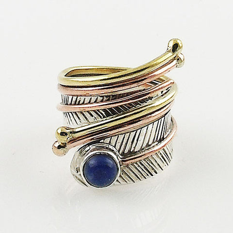 Lapis Three Tone Adjustable Sterling Silver Leaf Wrap Ring