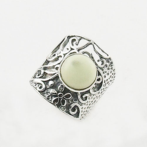 Lemon Chrysoprase Floral Sterling Silver Ring - Keja Designs Jewelry