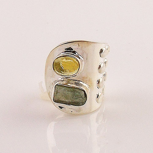 "Lemon Quartz & Green Kyanite Rough Adjustable ""Limon"" Ring - Keja Designs Jewelry"