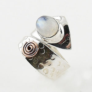 Moonstone Sterling Silver Copper Spiral Adjustable Ring - Keja Designs Jewelry
