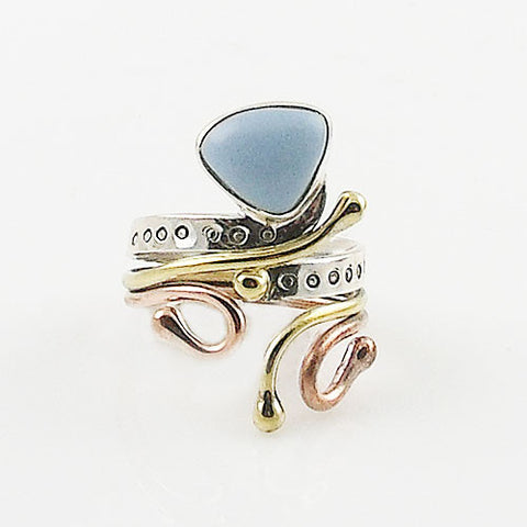 Owyhee Opal Fancy Cut Three Tone Sterling Silver Adjustable Ring - Keja Designs Jewelry