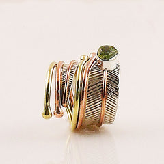 Peridot Rough Three Tone Sterling Silver Adjustable Leaf Wrap Ring - Keja Designs Jewelry