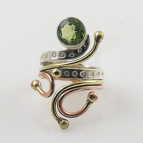 Peridot Three Tone Sterling Silver Adjustable Ring - Keja Designs Jewelry