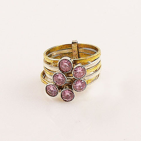 Pink Topaz Sterling Silver Two Tone Stack Ring