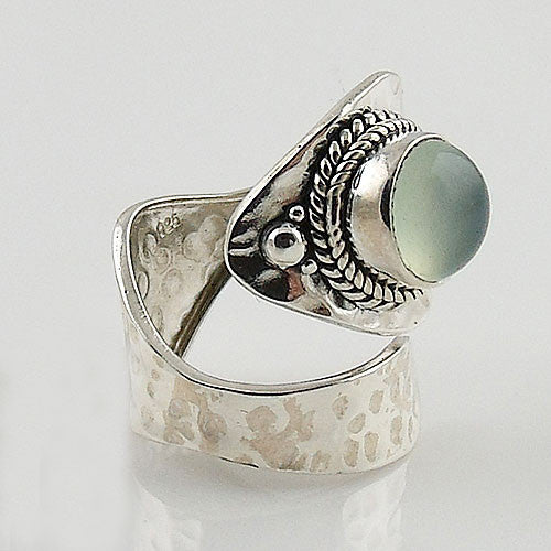 Chalcedony Floral Sterling Silver Adjustable Ring - Keja Designs Jewelry