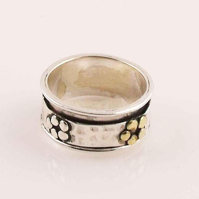 Spinner Ring - Two Tone Floral Spinner - keja Jewelry - Keja Designs Jewelry