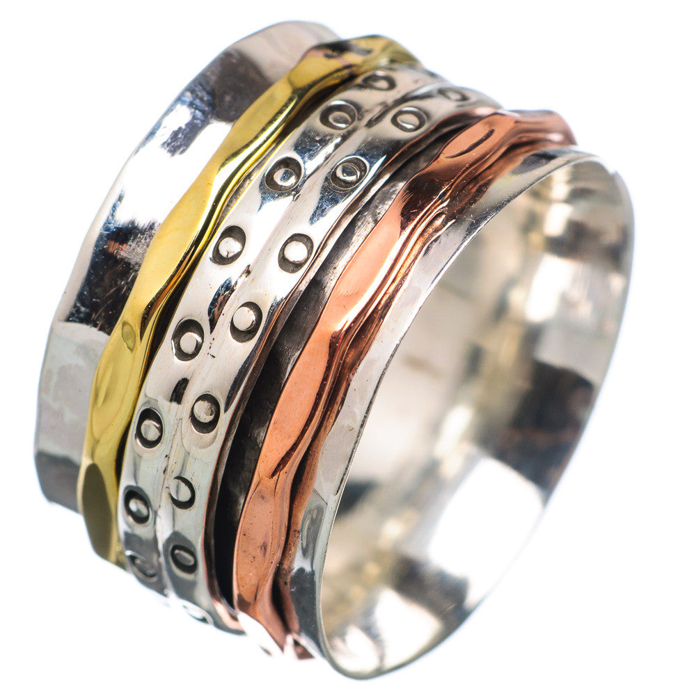 Spinner Ring Three Tone Double Bubble Band - Keja Designs Jewelry