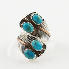 Turquoise Two Tone Adjustable Sterling Silver Leaf Ring - Keja Designs Jewelry