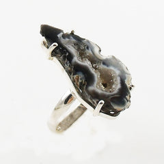 Agate Drusy Geode Sterling Silver Prong Set Ring - Keja Designs Jewelry