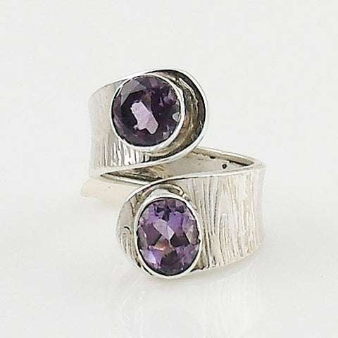 Amethyst Adjustable Sterling Silver Ring - Keja Designs Jewelry
