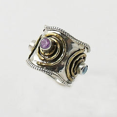 Amethyst & Blue Topaz Sterling Silver Two Tone Spiral Ring - Keja Designs Jewelry