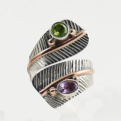Peridot & Amethyst Adjustable Sterling Silver Leaf Ring - Keja Designs Jewelry