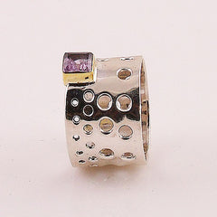 Amethyst Two Tone Sterling Silver Perforated Mod Ring - Keja Designs Jewelry
