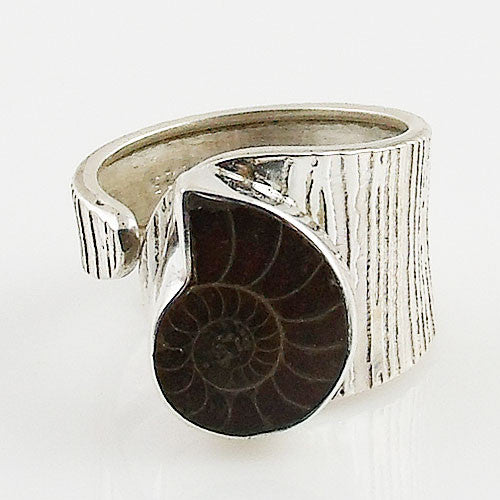 Ammonite Textured Sterling Silver Adjustable Ring - Keja Designs Jewelry