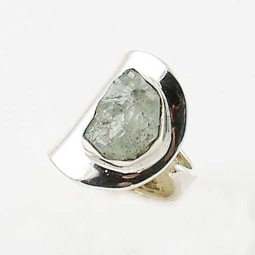Aquamarine Rough Adjustable Sterling Silver High Polish Ring - Keja Designs Jewelry