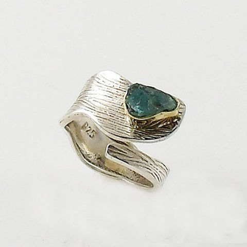 Aquamarine Rough Two Tone Adjustable Sterling Wrap Ring