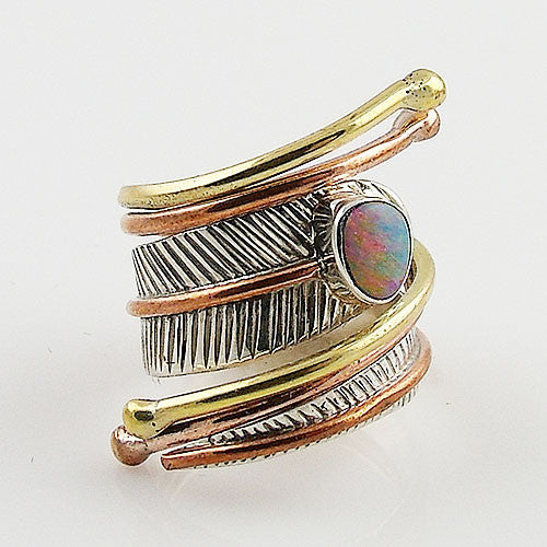 Australian Fire Opal Three Tone Sterling Silver Adjustable Wrap Ring - Keja Designs Jewelry