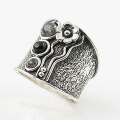 Black Onyx & Tourmalinated Quartz Sterling Tuxedo Band Ring - Keja Designs Jewelry