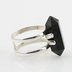 Black Onyx Double Point Crystal Sterling Silver Ring - Keja Designs Jewelry