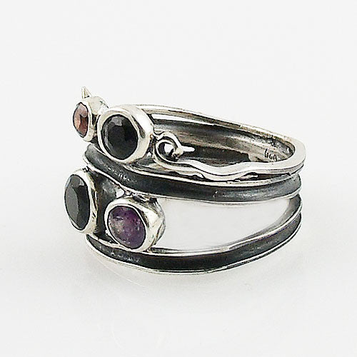 Black Onyx, Amethyst & Garnet Sterling Silver Swirl Patina Band Ring - Keja Designs Jewelry