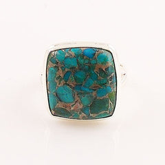 Blue Copper Turquoise Square Sterling Silver Ring - Keja Designs Jewelry