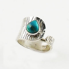 Peruvian Blue Opal Sterling Silver Adjustable Ring - Keja Designs Jewelry