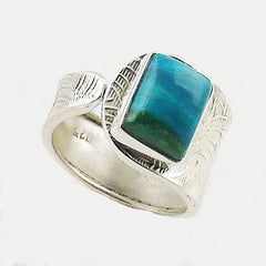 Peruvian Blue Opal Rectangle Sterling Silver Adjustable Ring - Keja Designs Jewelry