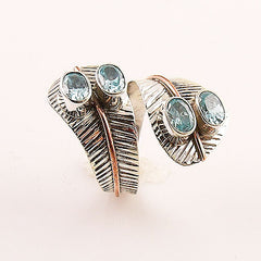 Blue Topaz Two Tone Adjustable Sterling Silver Leaf Ring - Keja Designs Jewelry