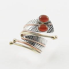 Carnelian Three Tone Sterling Silver Adjustable Leaf Wrap Ring - Keja Designs Jewelry