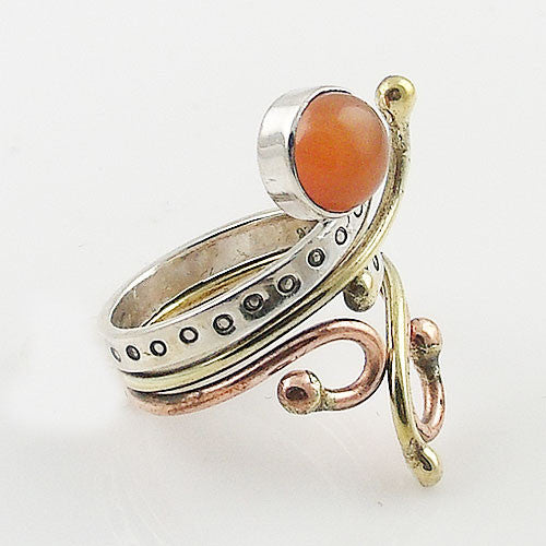 CarnelianThree Tone Sterling Silver Adjustable Ring - Keja Designs Jewelry